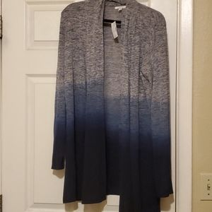 Maurices XL cardigan L/S gray/navy ombre NWT